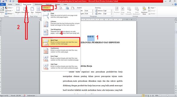 Cara Membuat Nomor Halaman di  bab baru Microsoft Word