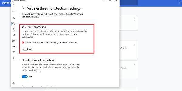 matikan antivirus windows defender