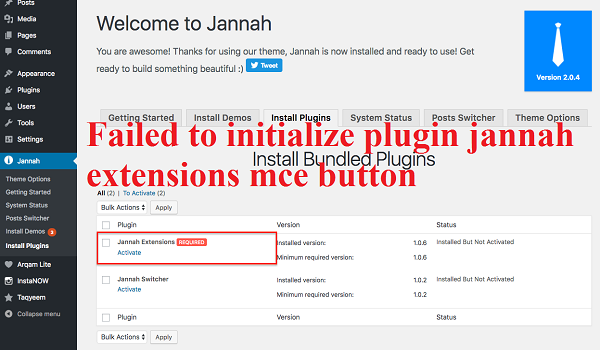 Kenapa Terjadi Failed to initialize plugin jannah extensions mce button