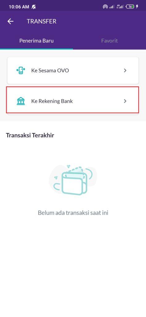 Transfer antar bank dari Aplikasi OVO