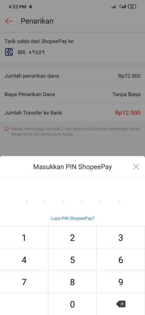 konfirmasi penarikan uang di shopeepay