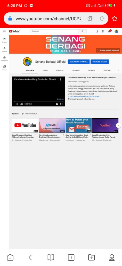 Channel Youtube dari Hp Android