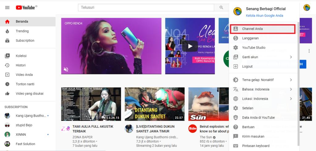 Cara Mengganti Video Play di Beranda Channel Youtube