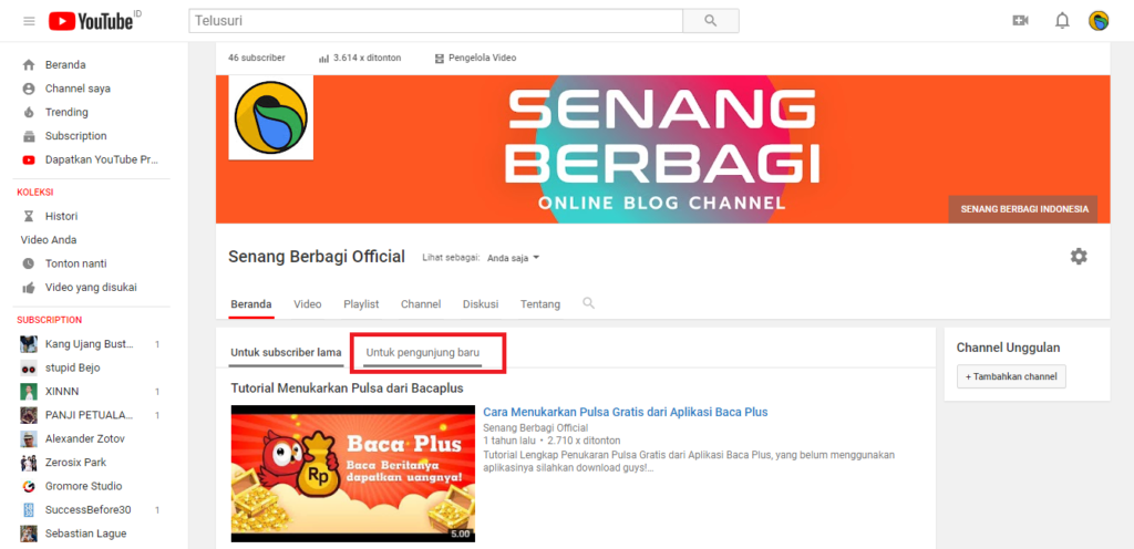 menubah video play di Channel Youtube