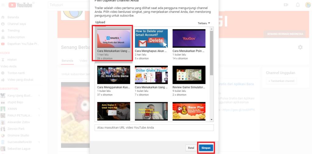 youtube cuplikan channel