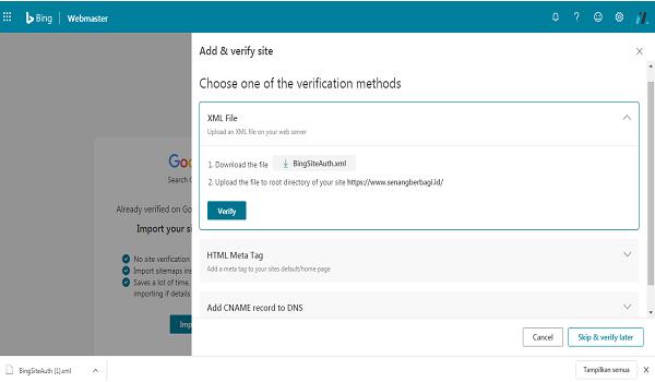 Verifikasi Bing Pada WordPress