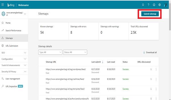 Cara Submit Sitemap Webmaster Bing pada wordpress