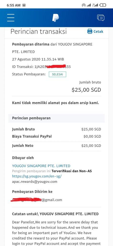 Bukti Pembayaran terbaru dari Yougov