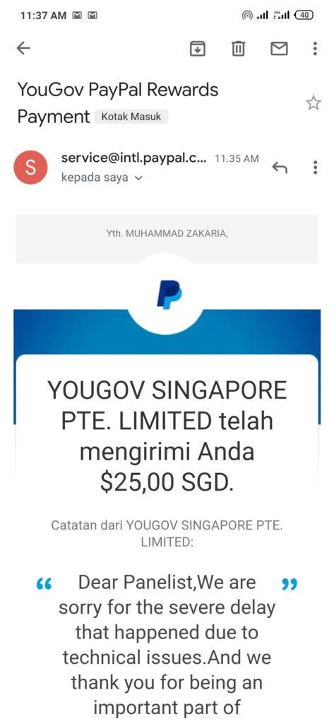 Bukti Pembayaran dari Yougov Masih Legit Review Situs Yougov Apakah Sudah SCAM ?