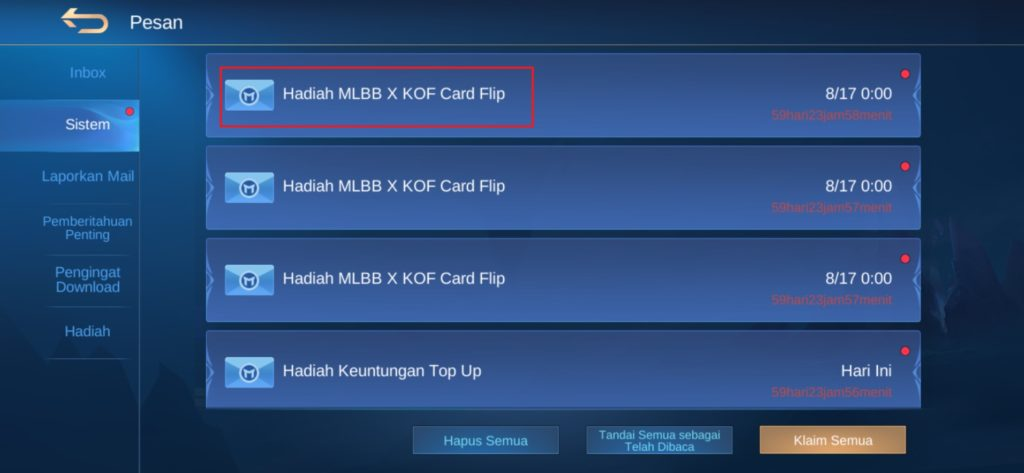 Hadiah MLBB X KOF Card Flip Mobile Legends