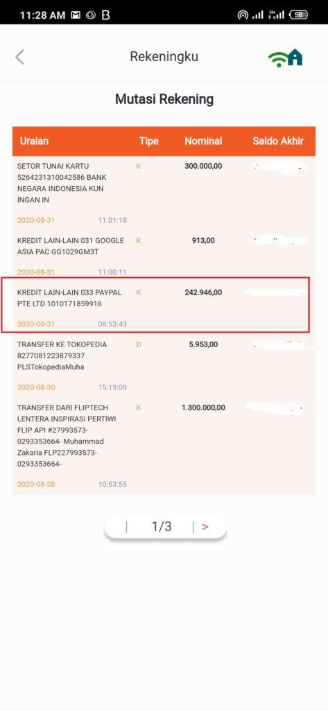 Bukti Pembayaran dari Situs Yougov Terbaru