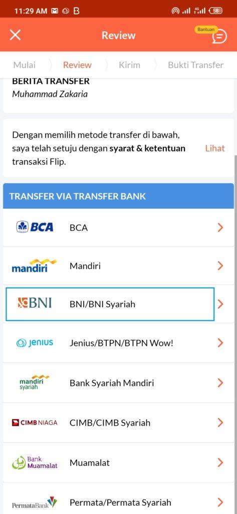 kirim uang dari BNI ke BRI dengan Flip berarti kirim ke rekening BNI flip