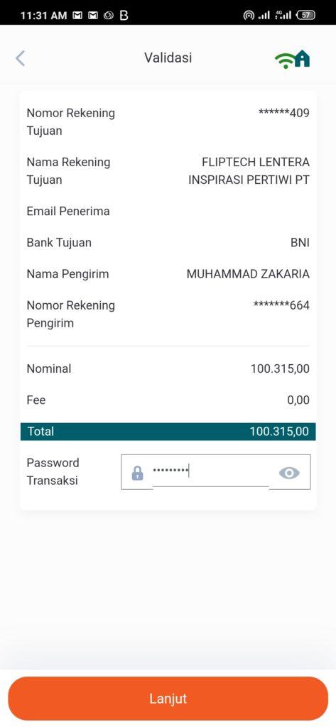 kirim uang dari Mbanking BNI ke Flip