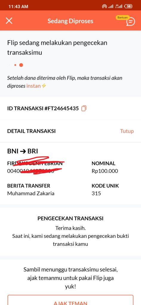 kirim uang dari BNI ke bRI dengan Flip bagai mana ya