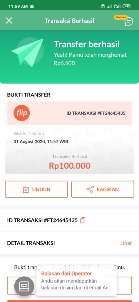 bukti kirim uang ke rekening bank BNI gratis dengan flip