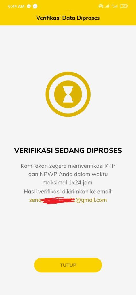 Aplikasi Pasarpolis proses verifikasi