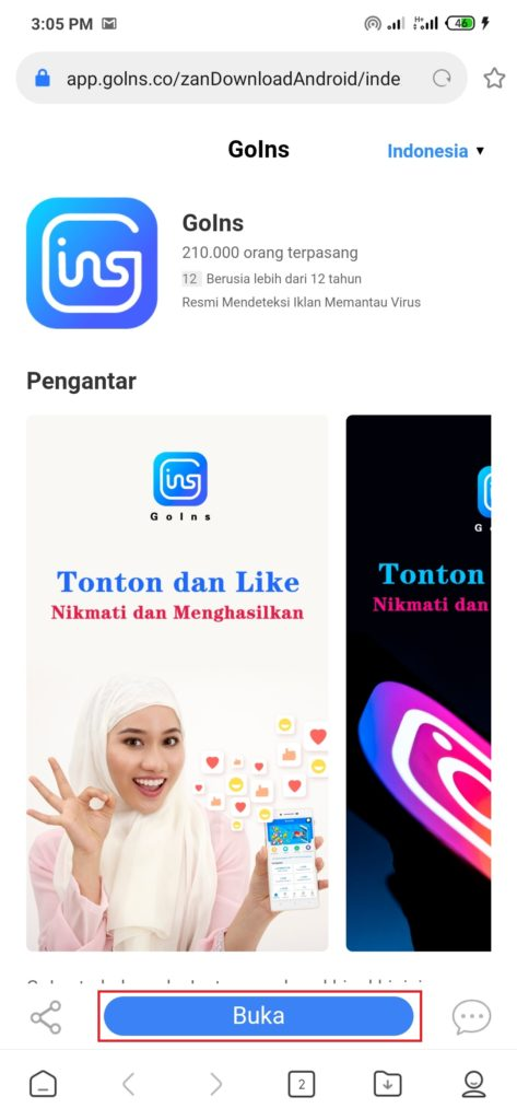 Aplikasi Goins Android download nya gimana sih