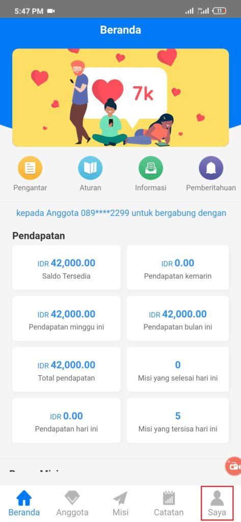 Cara Top up dari Aplikasi Goins Android