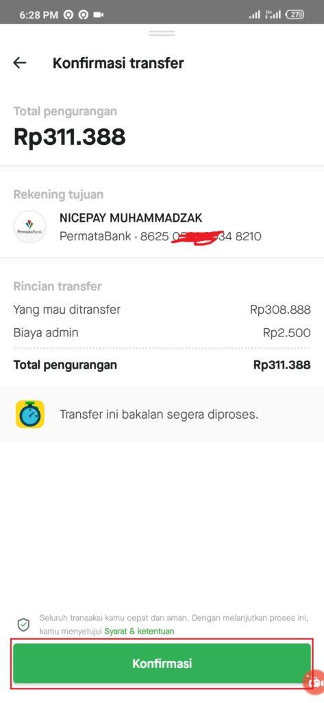 konfirmasi deposit aplikasi goins