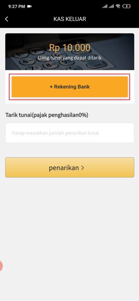 cara menambahkan rekening dari aplikasi S-Earn Android