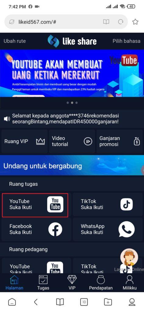 cara kerja dari Aplikasi Share Like