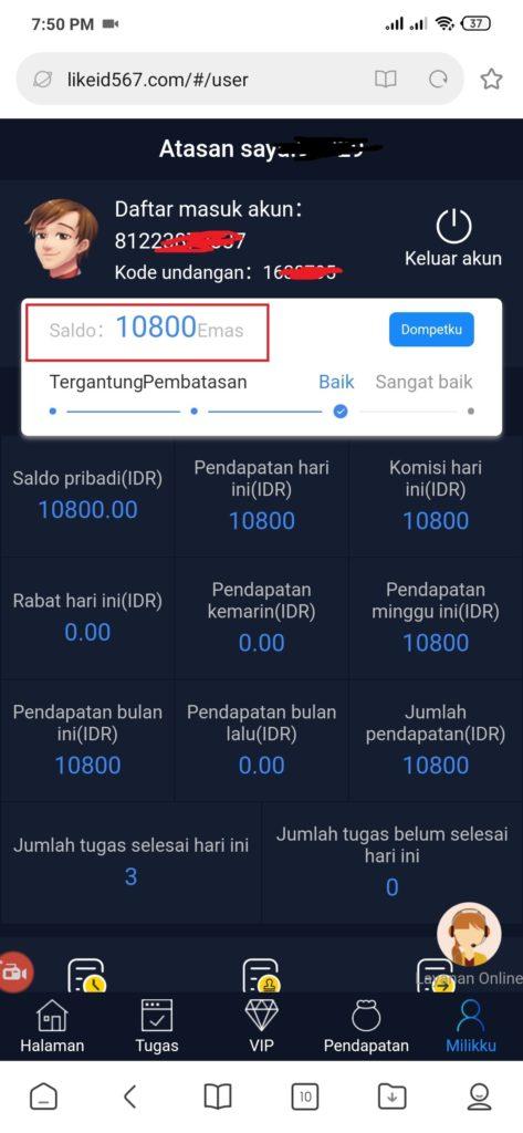 bukti pembayaran dari Aplikasi Like Share