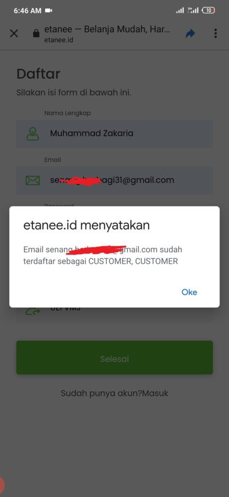 cara daftar dari Aplikasi Etanee Android