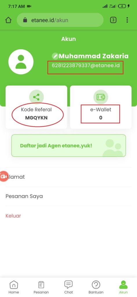 verifikasi kode undangan dari aplikasi Etanee