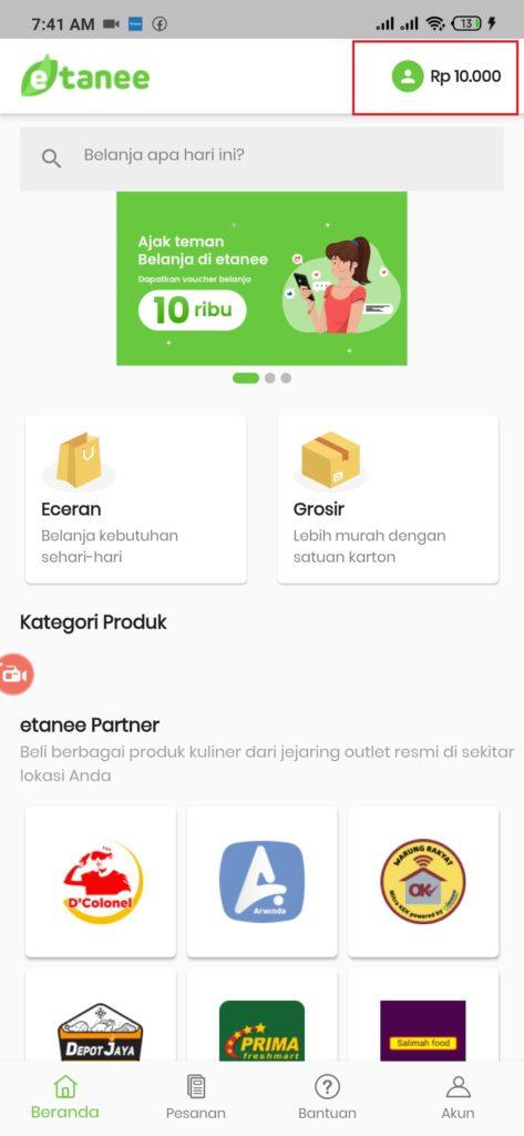 Aplikasi Etanee saldo gratis