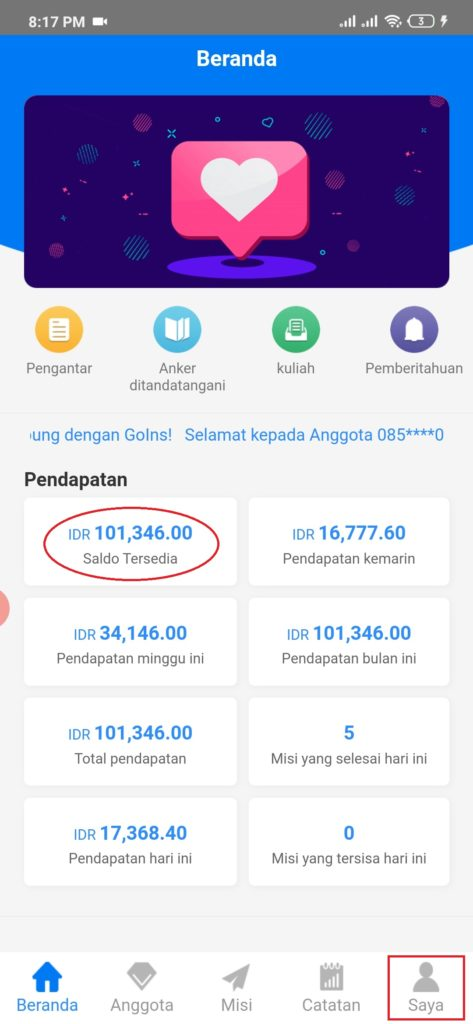 Cara Melakukan Penarikan Uang dari Aplikasi Goins