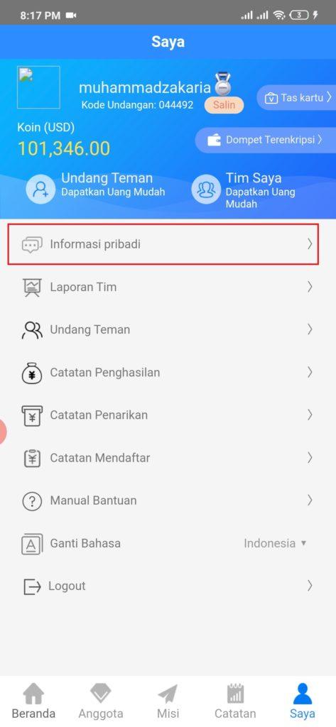cara mengisi informasi penarikan uang dari aplikasi goins