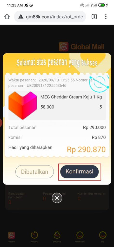 cara konfirmasi pemesanan dari aplikasi global mall