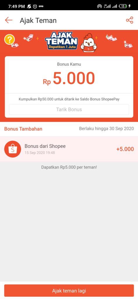 cara mengundang temen di aplikasi shopee untuk mendapatkan saldo shopeepay