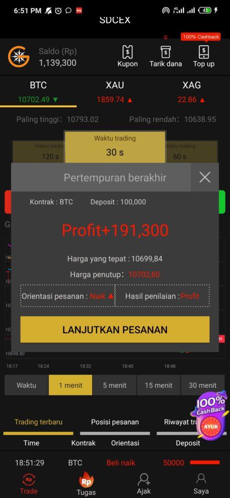 profit dari aplikas SDCEX Cara Mendapatkan Uang 200 ribu dari Aplikasi SDCEX Android