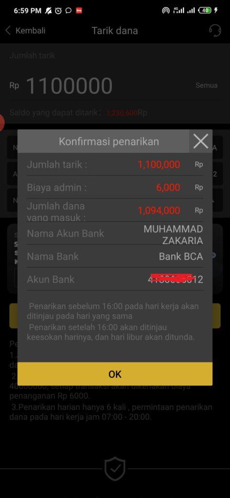 konfirmasi penarikan uang dari aplikasi SDCEX