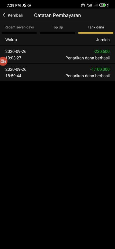 Bukti Penarikan Berhasil dari Aplikasi SDCEX Android