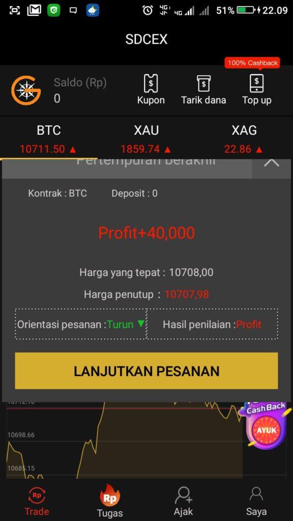 saldo gratis dari aplikasi SDCEX