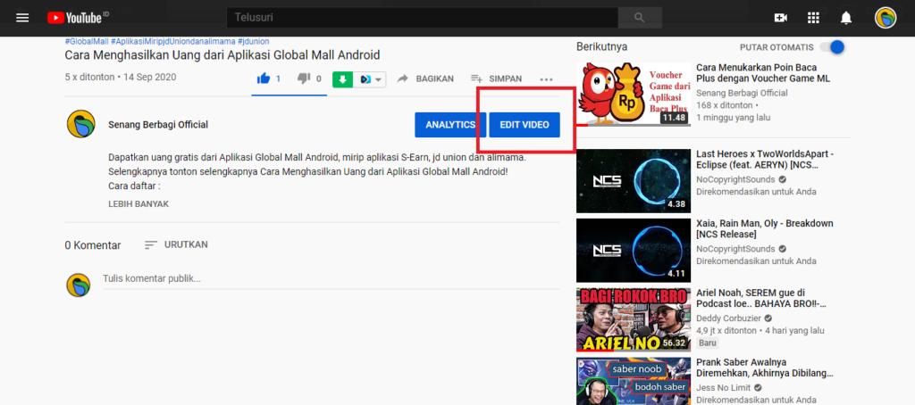 step selanjutnya silahkan klik edit Video seperti pada gambar