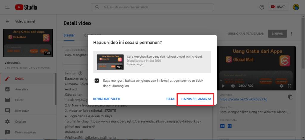 cara menghapus video dari channel kita gimana ya