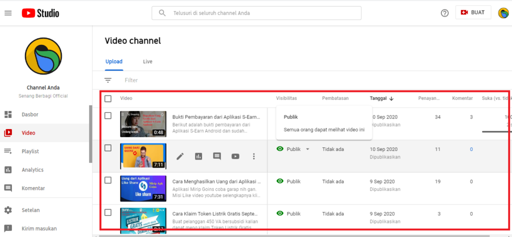 step selanjutnya cek hasil video yang telah dihapus