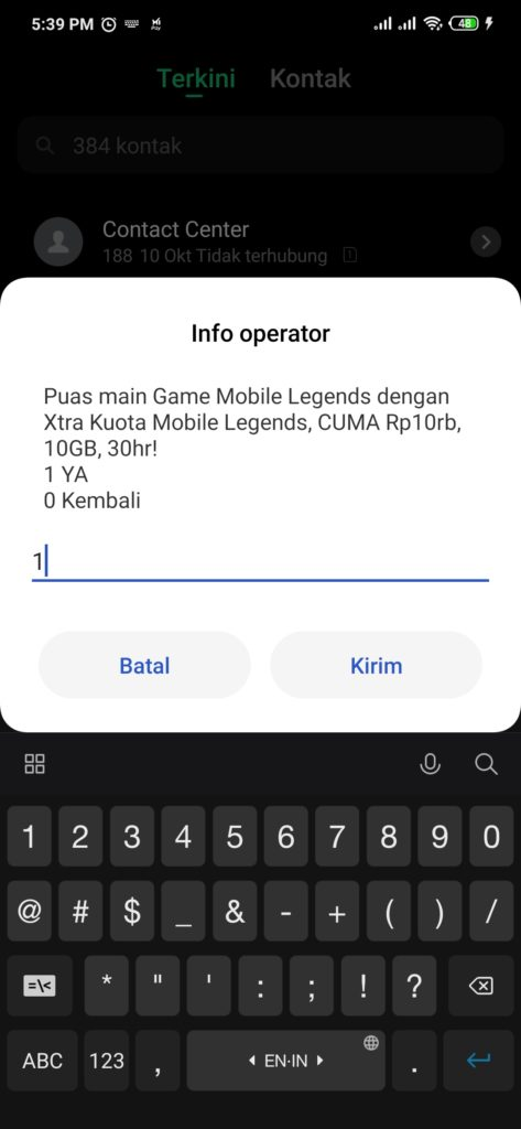 Membeli Paket Game Mobile Legends ke operator XL