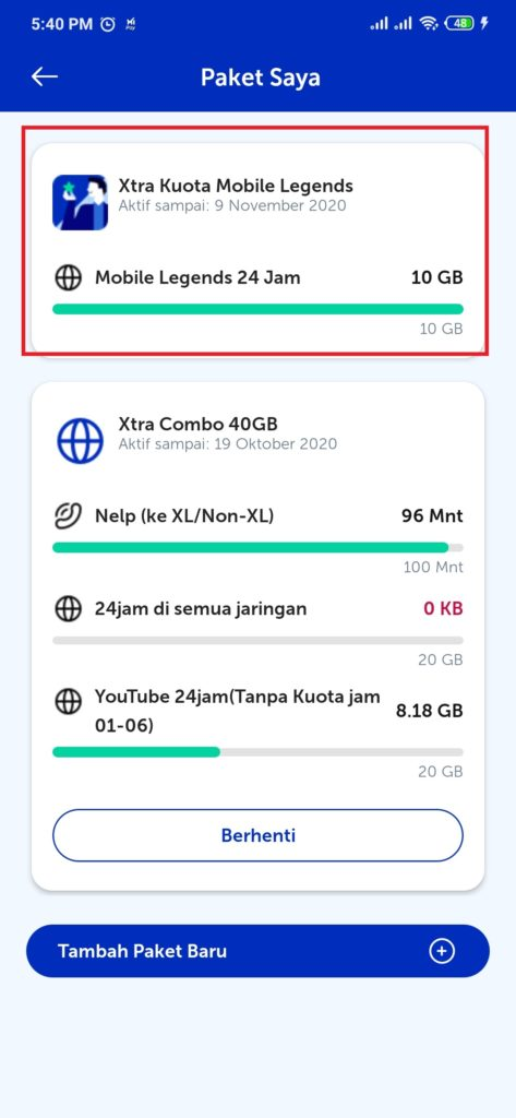 Paket Kuota Extra Game Mobile Legends dari XL