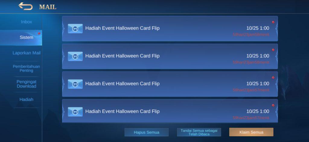 Bukti Hadiah dari Event Halloween Mobile Legends