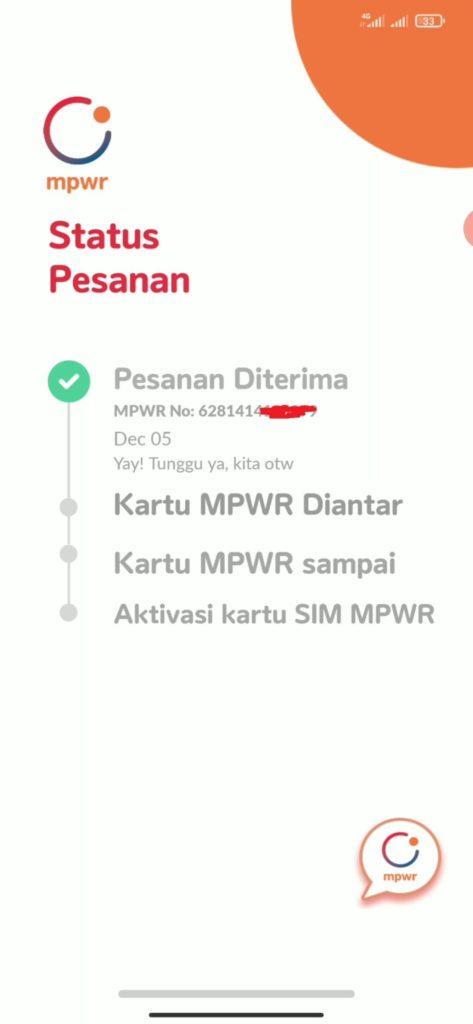 status pesanan kartu MPWR sedang diproses dan siap dianter ke rumah alamat anda