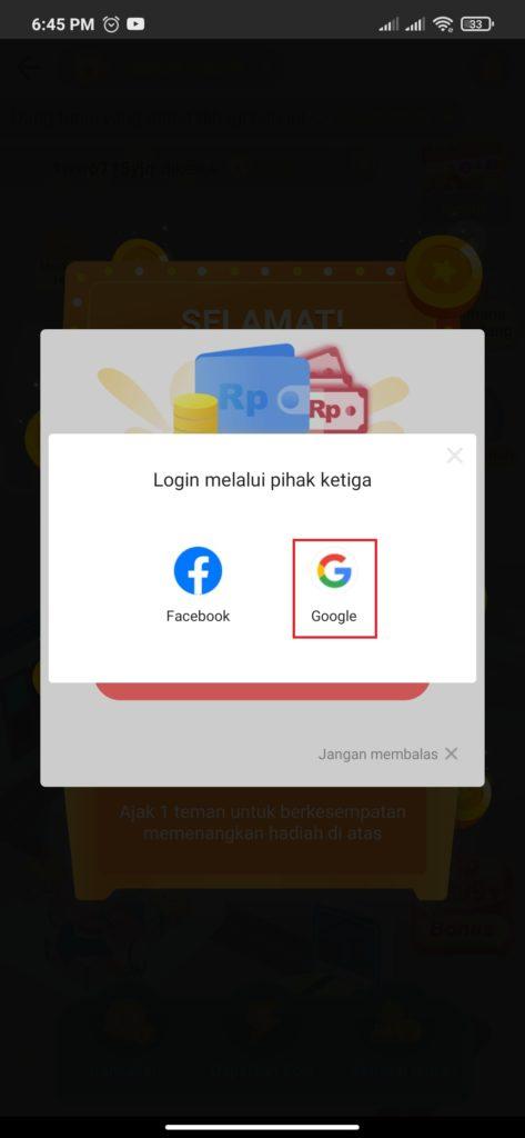 cara login dan daftar dari aplikasi play play