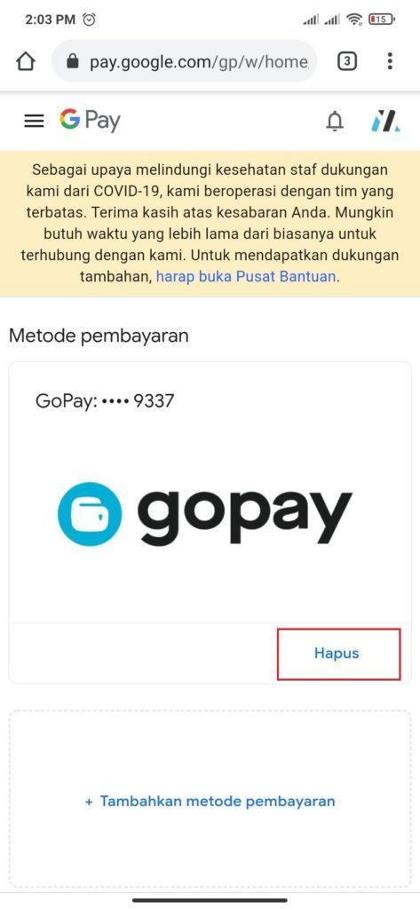 cara menghapus metode pembayaran gopay dari playstore