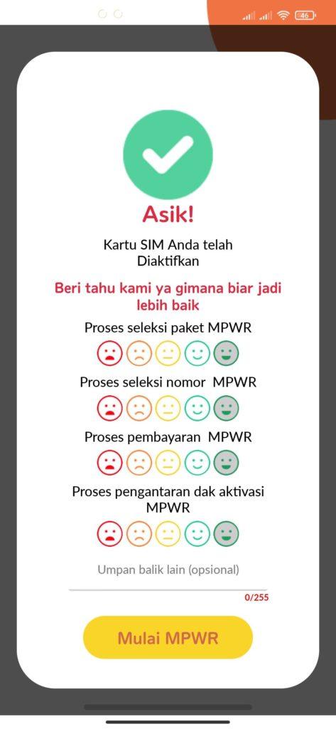 Cara Aktivasi Kartu MPWR dari Indosat berhasil