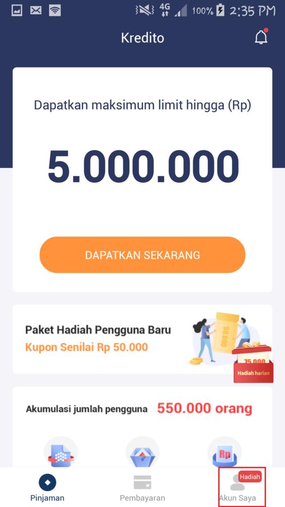Cara Mendapatkan Hadiah Uang dari Aplikasi Kredito