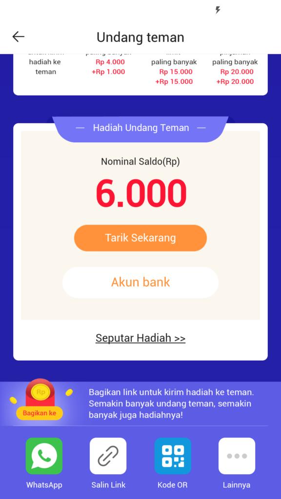hadiah uang dari aplikasi kredito
