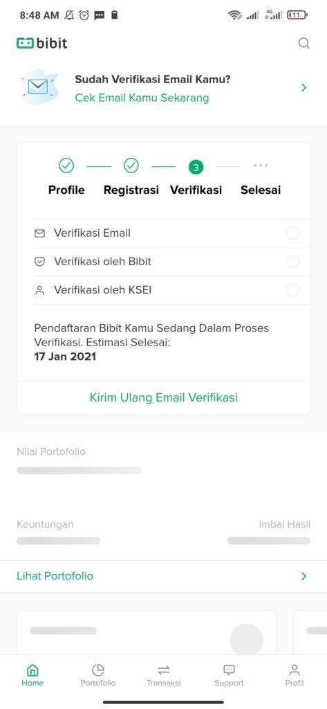 cara verifikasi email dari aplikasi bibit